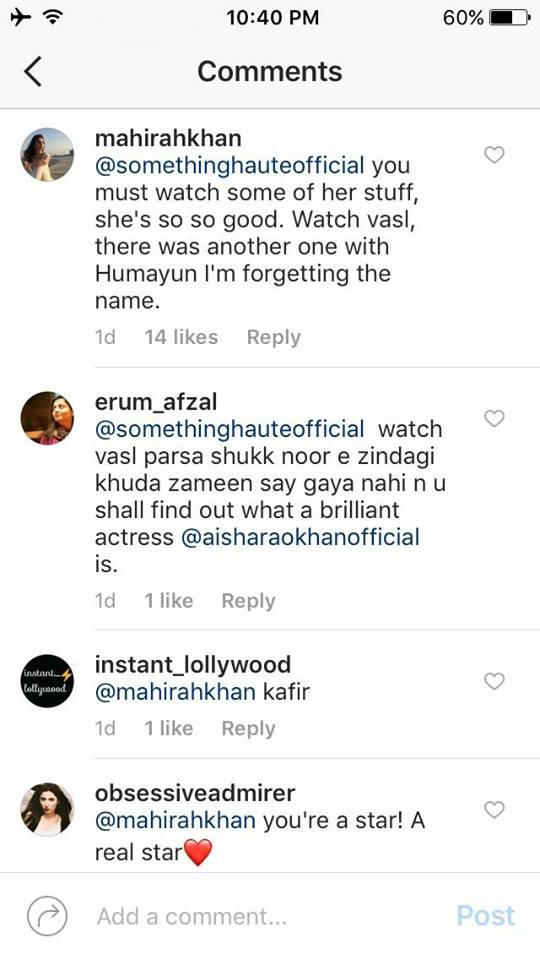 Mahira Khan Supports Aisha Khan on Instagram