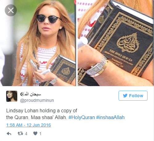 Lindsay Lohan's Instagram says 'Alaikum Salam' - Muslims Around The World Welcome Her To Islam