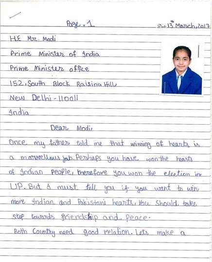 An 11 Year Old Pakistani Girl Writes A Letter To Modi Pleading Peace