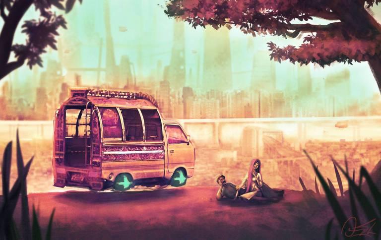 Pakistani artist's concept art of a sci-fi Pakistan is mesmerizing