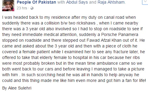 Fawad Khan Helps To Save A Life And Receives Love