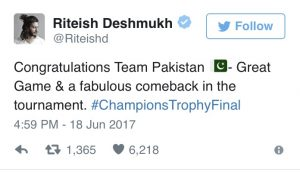 Bollywood congratulates Pakistan on their unforgettable win against India