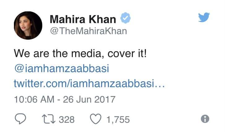 Mahira Khan Has A Brilliant Reply For Hamza Ali Abbasi's Tweet