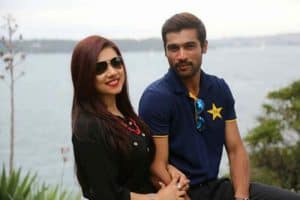 Pakistani cricketers Muhammad Amir with wife
