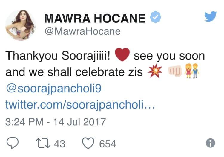 Sooraj Pancholi Congratulates Mawra Hoccane