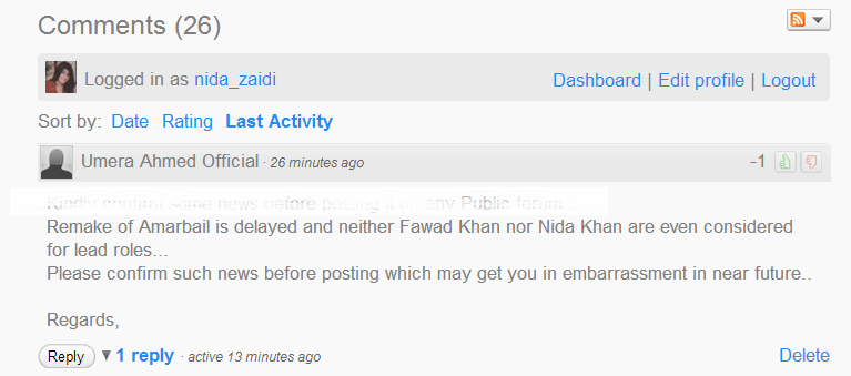 """""""Remake of Amar Bail is delayed and neither Fawad or Nida have been considered""""-Umera Ahmed's Official Page!"""