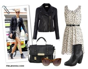 The-art-of-accessorizing-helenhou.com-Karolina-Kurkova-leather-jacket-black-and-white-print-dress-and-ankle-booties