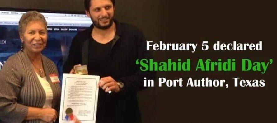 """Feburary 5th Declared As """"Shahid Afridi"""" Day"""