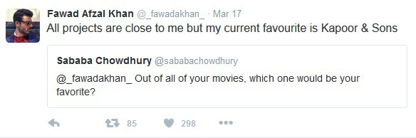 Fawad Khan Chats With His Fans On Twitter
