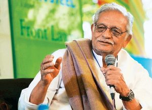 JAIPUR, INDIA - JANUARY 23: Lyricist-poet Gulzar in the session'Kahani Kisko Kehte Hain?: Script, Story, Screenplay' during Jaipur Literature Festival 2012 on Monday 23 January, 2012. (Photo by Ramesh Sharma/India Today Group/Getty Images) *** Local Caption *** Gulzar