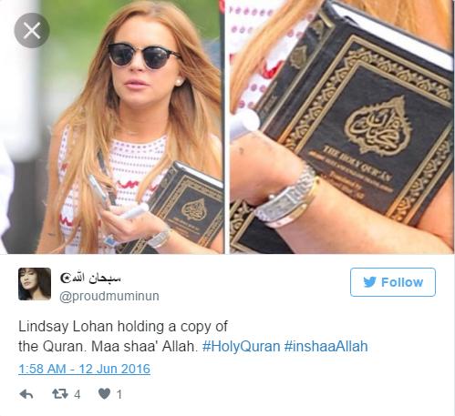 Lindsay Lohan's Instagram says 'Alaikum Salam' - Muslims Around The World Welcome Her To Islam