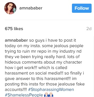 Supermodel Amna Babbar Just Replied A Harasser, Who Attacked Her Reputation