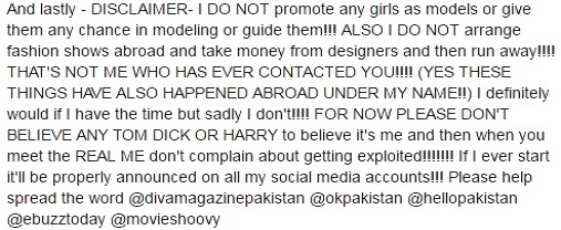 Nadia Hussain Exposes Modelling Scam
