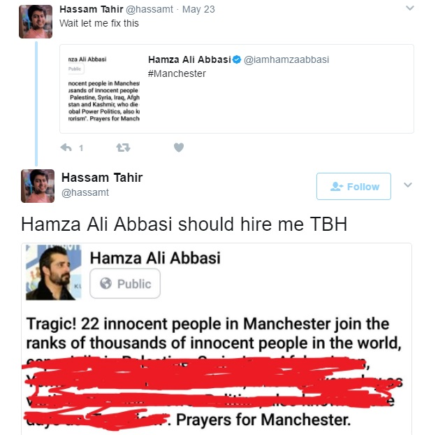 People Are Bashing Hamza Ali Abbasi For His Controversial Post Regarding Manchester Attack
