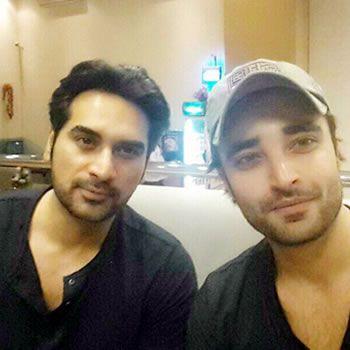 Humayun Saeed with fellow actor Hamza Ali Abbasi