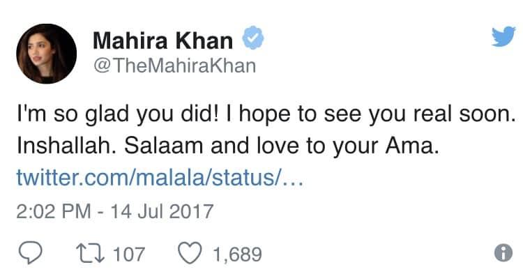 Malala Replies To Mahira's Love