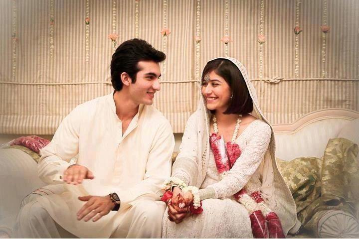 Syra Yousuf and Shehroz Sabzwari white dress wedding pics