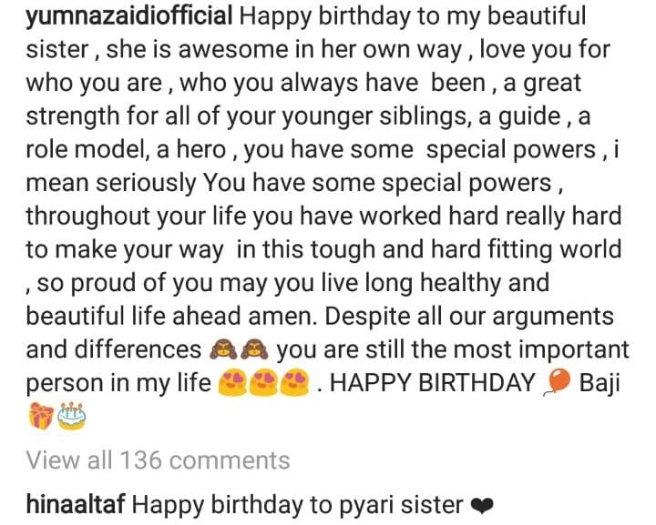 We Have These Instagram Posts To Prove It Yesterday Was Yumna Zaidis Elder Sister Mehreens Birthday And She Posted This Absolutely Beautiful Picture Of