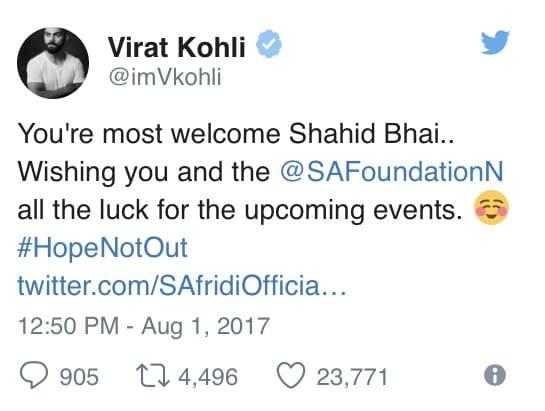 Virat Kohli Supports Shahid Afridi Foundation