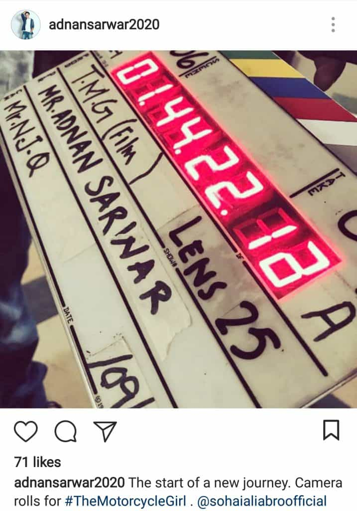 Shooting Starts For Sohai's The Motorcycle Girl!