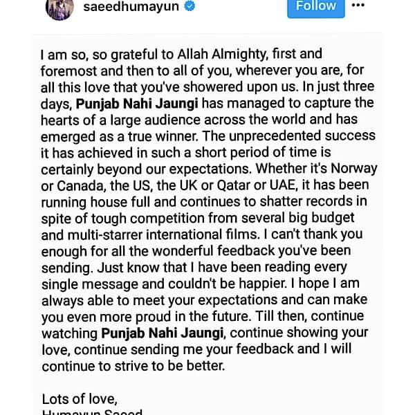 Humayun Saeed Expresses Gratitude For Success Of Punjab Nahi Jaungi