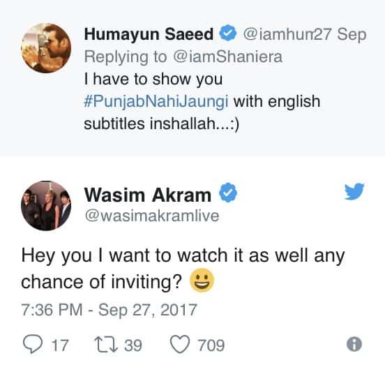 Humayun And Shaneira's Twitter Exchange For Punjab Nahi Jaungi