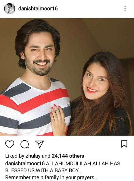 Ayeza And Danish Welcome A Baby Boy!