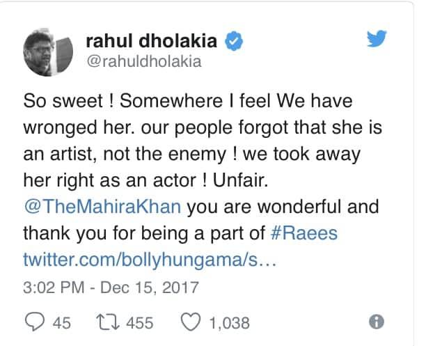 Mahira Khan Was Wronged, Tweets Raees' Director