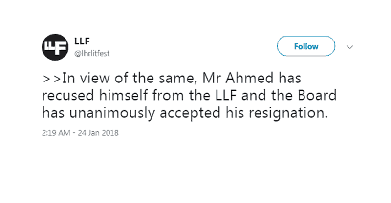 Pakistani Twitter Gets Fasih Ahmed Removed From The LLF Board