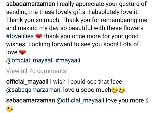 Maya Ali Sends Love To Saba Qamar!