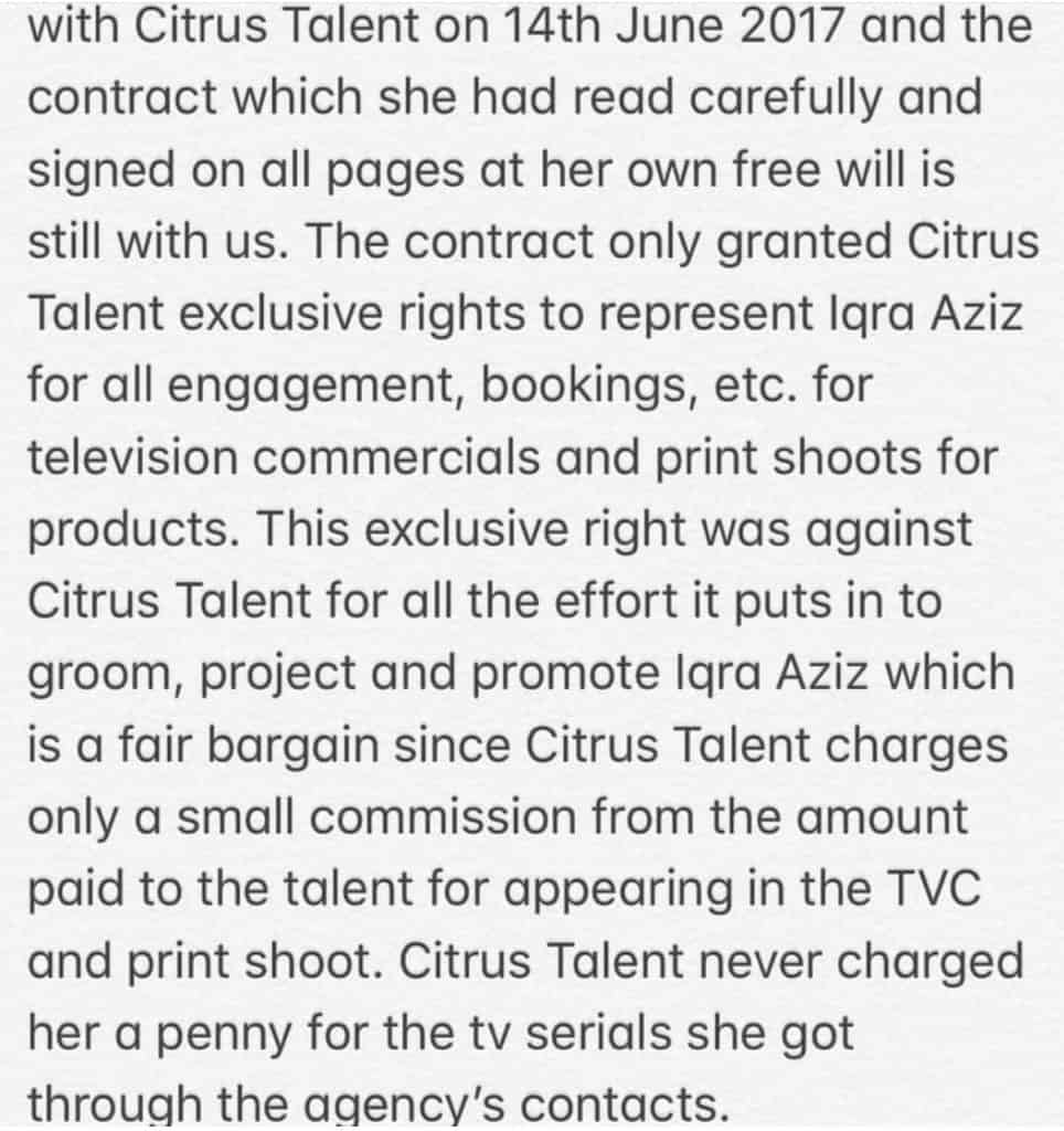 Iqra Aziz Served Notice By Her Talent Agency!