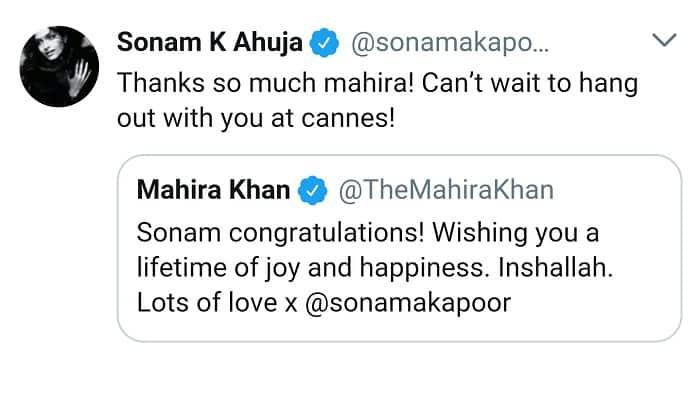 Sonam Kapoor And Mahira Khan's Friendly Twitter Exchange!