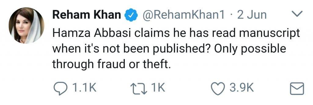 Hamza Ali Abbasi Is Threatning Me: Reham Khan!