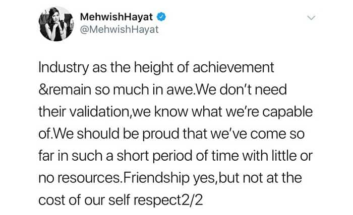 Mehwish Asks Colleagues To Be Proud Of Their Own Industry!
