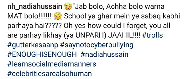 Nadia Hussain Slams Cyber Bullies!