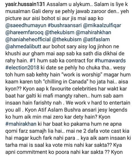 Yasir Hussain's Statement Makes Awards vs Elections War Uglier!
