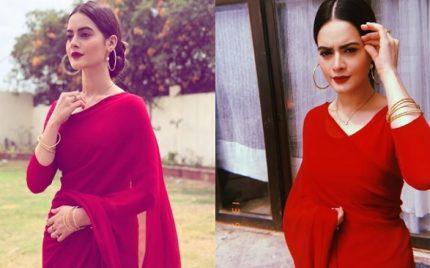 Minal Khan Stuns In A Beautiful Red Saree