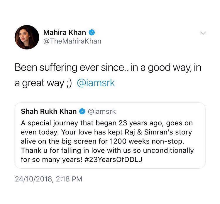 Shahrukh Khan And Mahira Khan's Twitter Exchange