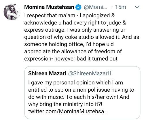 Momina Mustehsan Turns Shireen Mazari's Opinion Into Twitter Feud