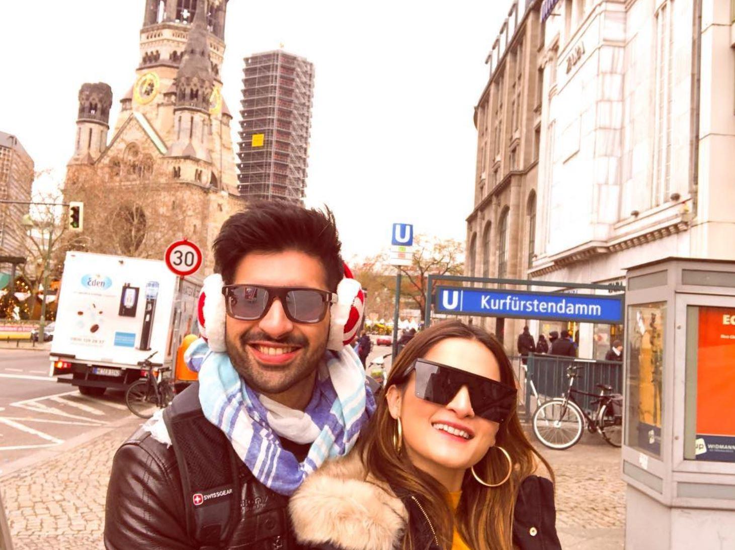 Aiman Khan And Muneeb Butt Leave For Honeymoon