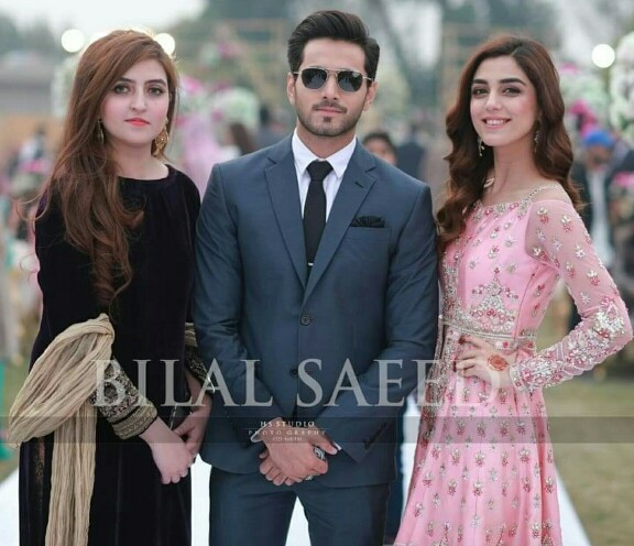 Wahaj Ali With Wife And Daughter At A Wedding