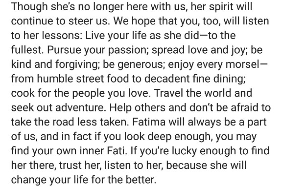 Pakistani Top Chef Contestant Fatima Ali Is No More