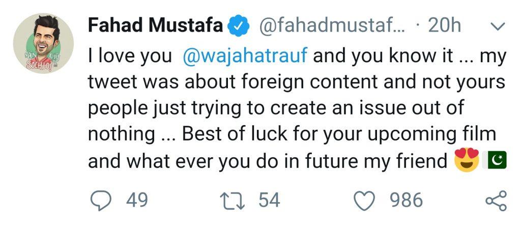 Fahad Mustafa Clarifies Tweet Regarding Web Series