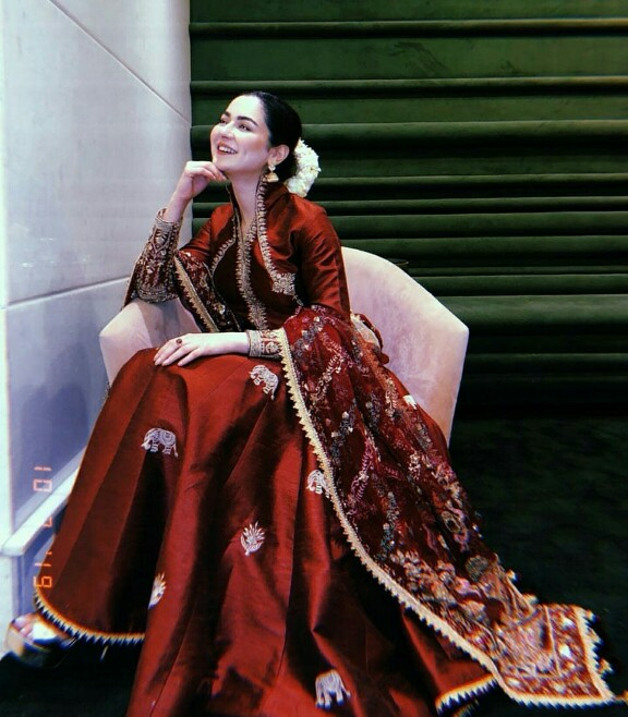 Hania Amir Stuns In A Maroon Ensemble