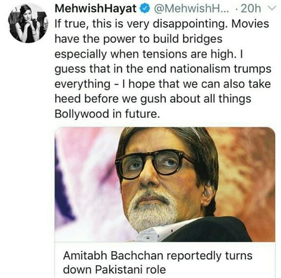 Mehwish Hayat Calls Out Amitabh Bachan
