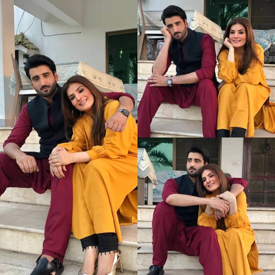 Beautiful Resham and Agha Ali on the set of their Upcoming Drama Muthi Bhar Chahat