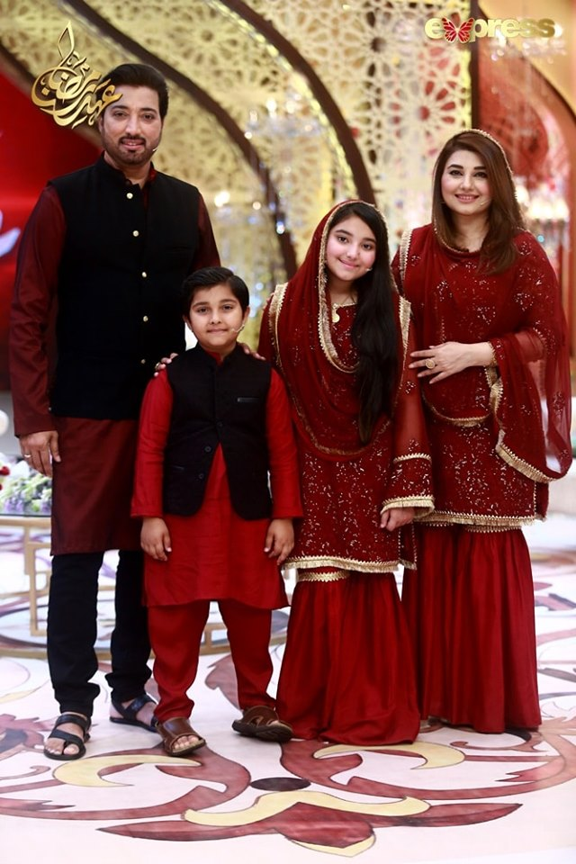 Javeria & Saud with Their Kids in Todays Ramzan Transmission on Express Tv
