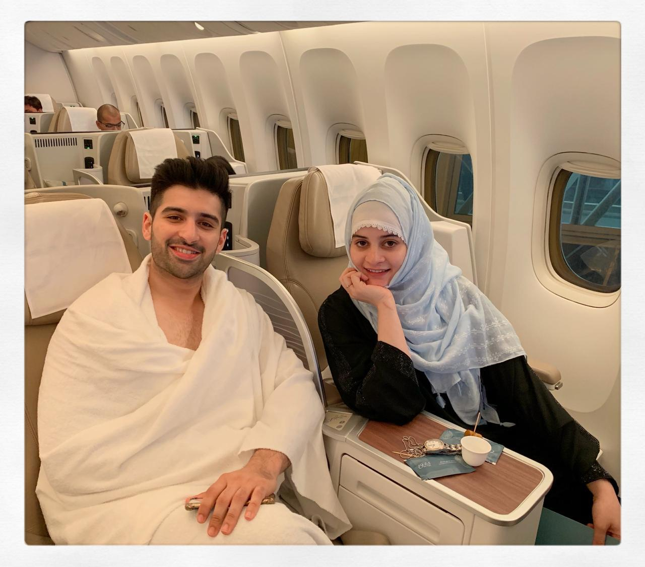 Beautiful Couple Aiman Khan & Muneeb Butt off to their first Umrah Together
