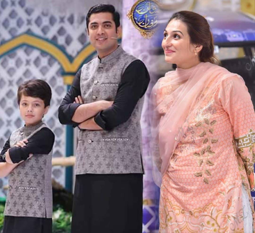 Iqrar ul Hassan Appeared with his Wife Qurat ul Ain and Son Pehlaaj in Ramzan Transmission