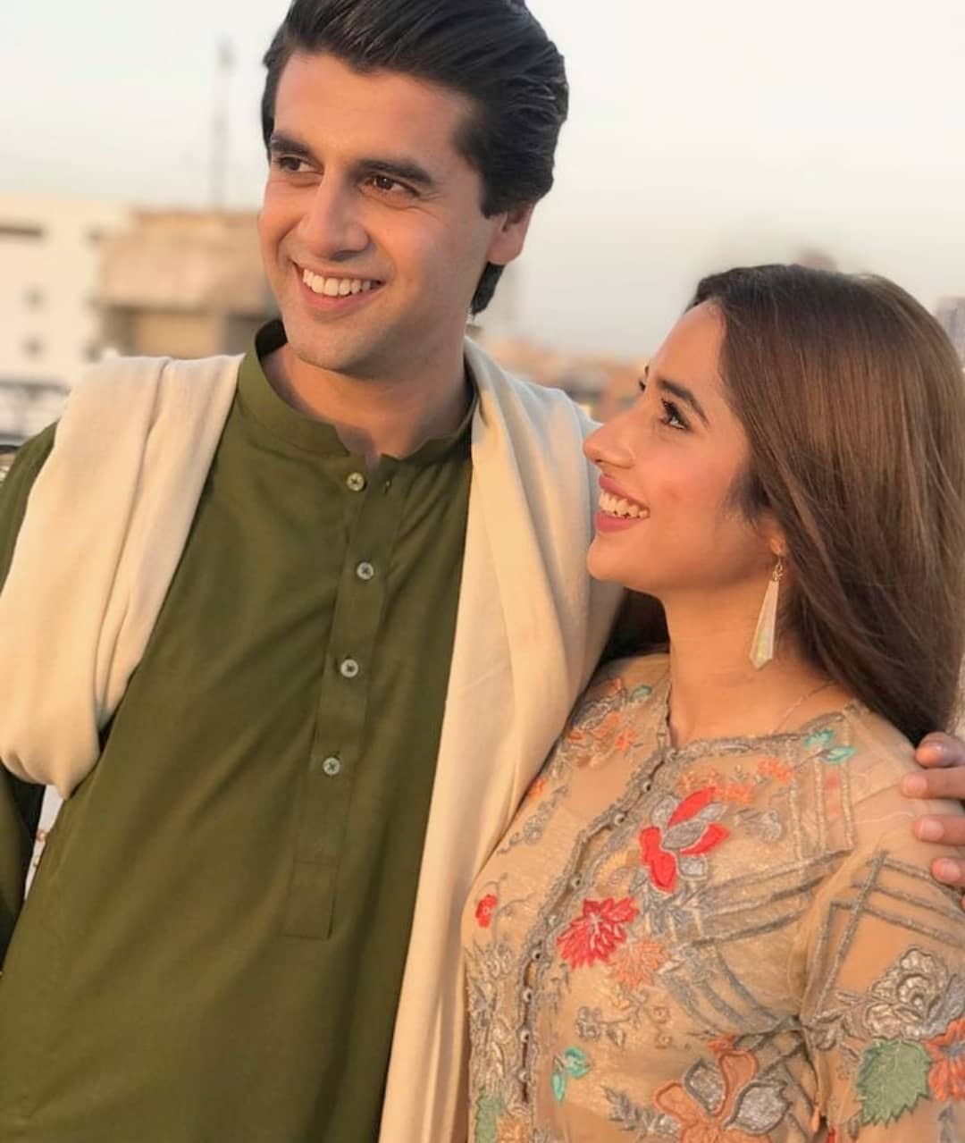 Actors Iqra Aziz and Farhan Saeed on the Set of Drama Suno Chanda 2